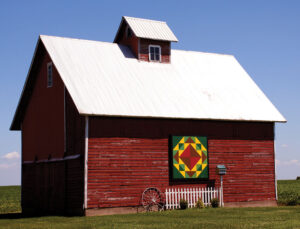 Corn and Beans pattern on barn owned by brother and sister Dean and Beverly Larson, Momence, Il also appeared on cover of the book mentioned in article