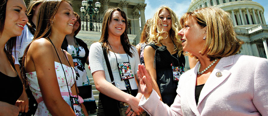 U.S. Rep. Jo Ann Emerson (R-Mo.), right, NRECA CEO-designate, meets with 2011 Rural Electric Youth Tour students from the Show Me State outside House chambers at the U.S. Capitol.