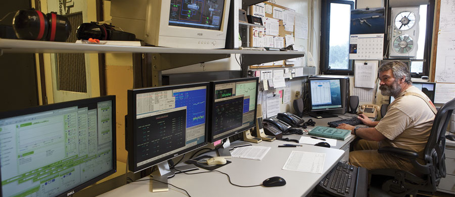 New technologies like down-line automation alerts personnel in a control room to potential problems and can limit the duration and extent of a power outage. Source: NRECA