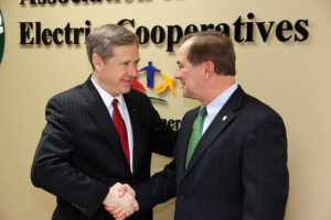 "Almost exactly a year ago Sen. Mark Kirk (left) spoke with Duane Noland, President/CEO of the Association of Illinois Electric Cooperatives and the entire board of directors of the association. Noland said, ""Senator Kirk's work ethic was evident that day a year ago when he came to visit with us and other downstate rural leaders. It proved how much he cares about his constituents across the state. He understands the value of hard work and through perseverance you can defy the odds. We are so fortunate to have him back in Washington serving the people of Illinois."""