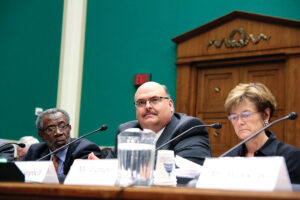 Tony Campbell (center), President/CEO of East Kentucky Power Cooperative, brings concerns about pending EPA carbon ­dioxide rules to Congress. (Photo By: House Energy and Power Subcommittee)