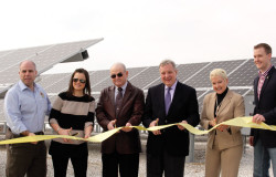 Federal and state representatives were on hand for the ribbon cutting at Illinois Rural Electric Cooperative's Scott County Solar Plant on March 7. From left to right are: State Sen. Sam McCann; Mary Warren, USDA; Robert Brown, IL Rural Board President; U.S. Senator Dick Durbin; Ellen McCurdy, IL DCEO; and State Rep. C.D. Davidsmeyer.