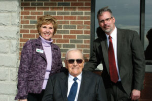 Illinois Director of USDA Rural Development Colleen Callahan (l-r) worked closely with EJ Water's founding board member Delbert Mundt and CEO Bill Teichmiller to fund the treatment plant and expansion of the water co-op.