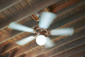 Spinning ceiling fan