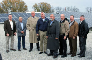 Congressman John Shimkus toured the Shelby Solar Farm in November. Joining him on the tour were (l-r) Josh Shallenberger, President/CEO, Shelby Electric Cooperative; John Scott, Chairman of the Board, Shelby Electric; Kim Leftwich, President/CEO, Coles-Moultrie Electric; Shimkus; Robert Reynolds, Vice President, Member Cooperative Services, Prairie Power, Inc.; Bob Hunsinger, President/CEO, Eastern Illini Electric; Duane Noland, President/CEO, Association of Illinois Electric Cooperatives; and Jim Matlock, Vice President of Engineering, Shelby Electric.