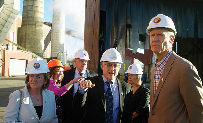 Illinois Governor Bruce Rauner toured the Abbott Power Plant in November to learn about the carbon capture research underway at the University of Illinois. Foreground L-R: Barbara Wilson, U of I Interim Chancellor; Kevin O'Brien, Director, Illinois Sustainable Technology Center; and Governor Rauner.