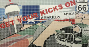 This tiled mural in Amarillo, Tx., is just one of many murals found along the 2,200-mile long Route 66.