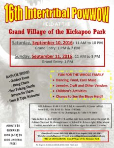 16th Intertribal Powwow at the Grand Village of the Kickapoo Park @ Grand Village of the Kickapoo Park | Le Roy | Illinois | United States