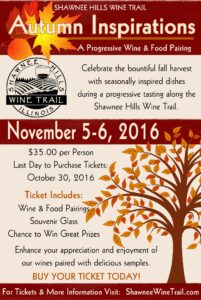 Autumn Inspirations - A Shawnee Hills Wine Trail Wine & Food Pairing Weekend @ Shawnee Hills Wine Trail | Pomona | Illinois | United States