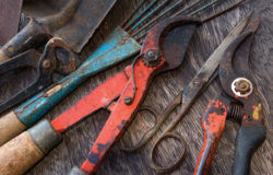 dirty tools - vintage garden tools on wooden background