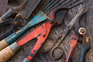 Old rusty tools - dirty tools - vintage garden tools on wooden background
