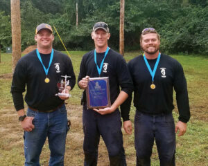 The winners of the Best Overall Team consisted of apprentice linemen (l-r) Adam Shenaut, Mitch Behrends and Jack Ross.
