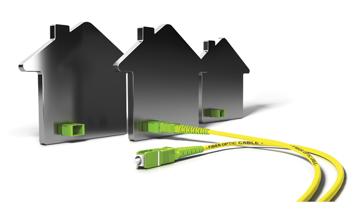 Graphic Image of three houses with fiber optic cable.