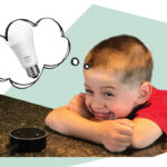 Boy daydreaming about a smart lightbulb