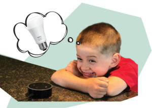 Boy daydreaming about a smart lightbulb