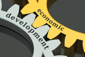 Economic Development concept on the gearwheels