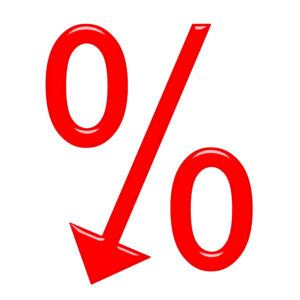 Percentage Sign with Downward Arrow