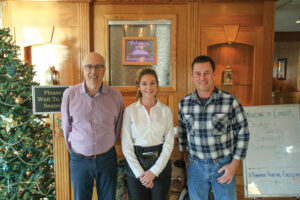 Restaurant manager Jim West, server Doriana O'Connell, and co-owner Eric Van Gundy.