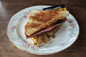 Grilled Bologna sandwich on a plate