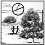 Illustration of children flying a kite near power lines
