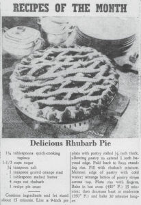 1943 Rubarb Pie Recipe