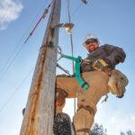 Lineworker On Pole