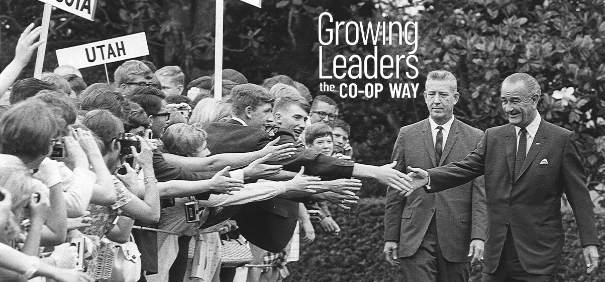 President Johnson shaking hands with kids on Youth Tour