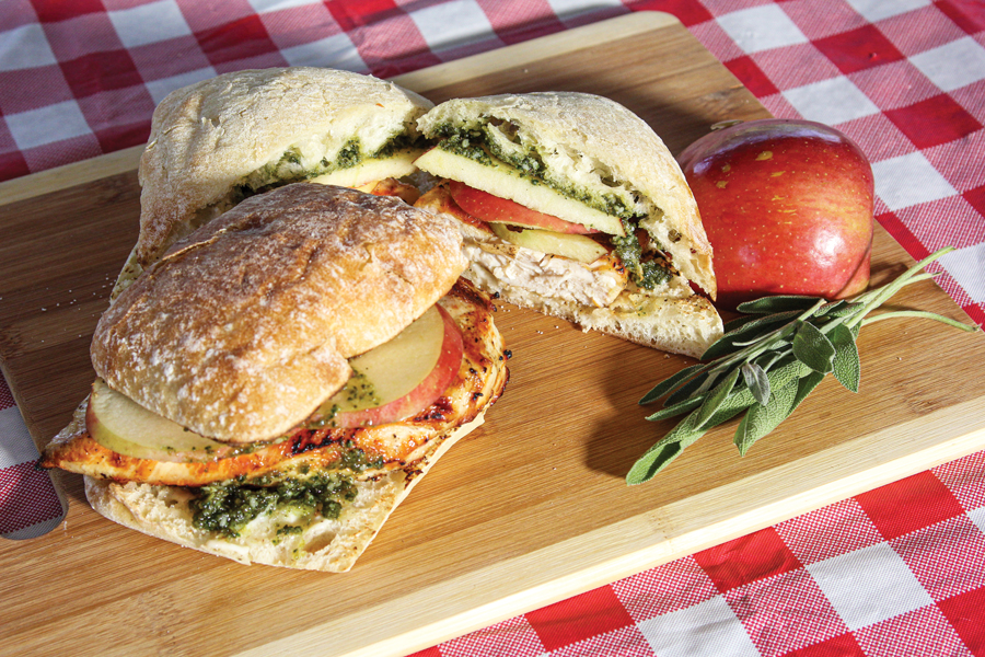 Grilled Chicken and Apple Sandwiches with Sage Pesto