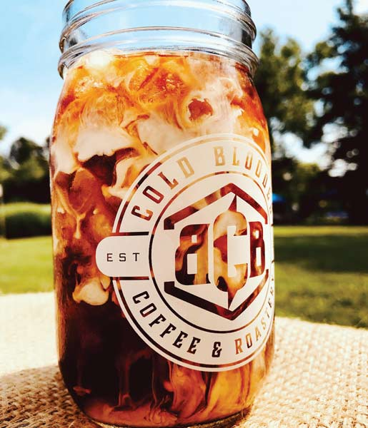 Cold Blooded iced coffee in glass jar