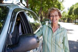 Senior by car
